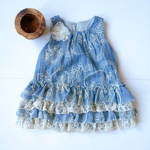 ISOBELLA & CHLOE BLUE+CREAM LACE DRESS SZ 2T